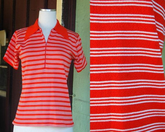 1960s 1970s Orange White Striped Half Zip Collared