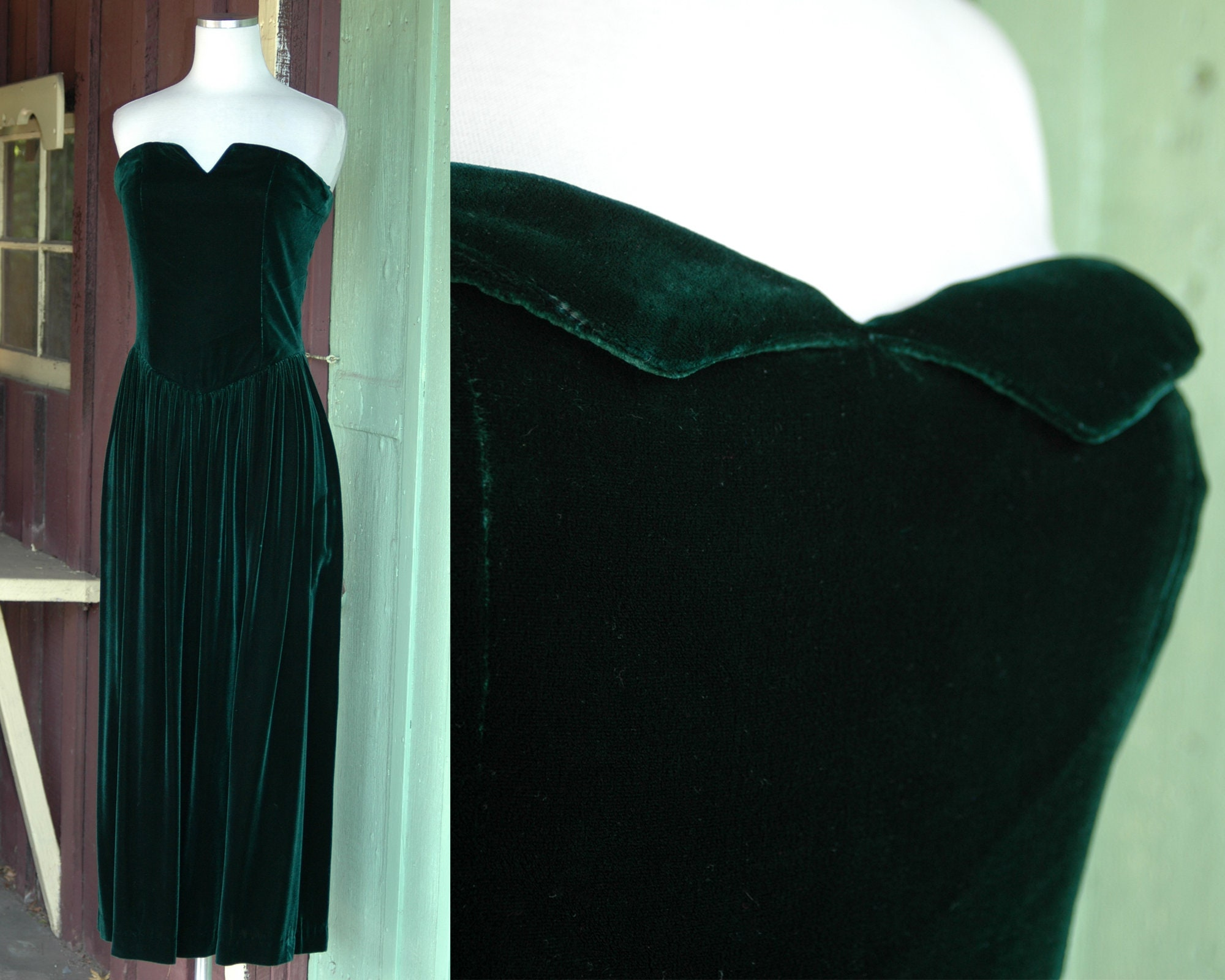 80s Dresses | Casual to Party Dresses Holiday 1980S 1990S Forrest Green Velvet Strapless Gown  80S 90S Evening Party Dress $0.00 AT vintagedancer.com