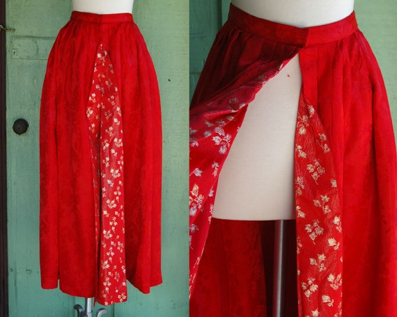 1950s Red and Gold Pleated Overskirt // 50s Red Fl
