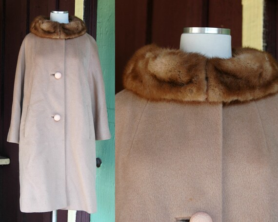 1960s Camel Coat with Fur Collar // 60s Long Winte