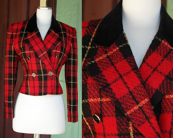 HOLIDAY 1990s 2000s Red Black Yellow Plaid Cropped