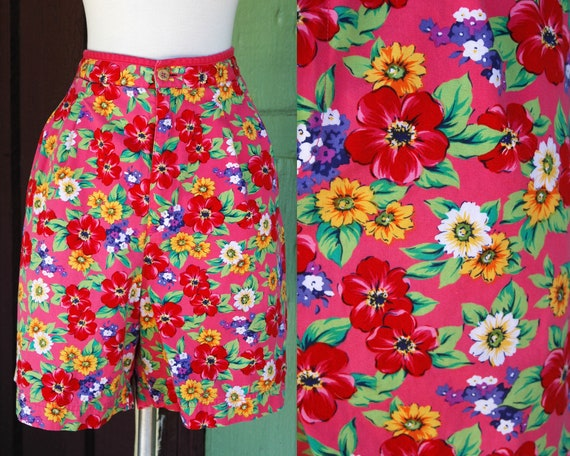 Como La Flor 1990s Skin Tight Black Mini Dress with Bright and Colorful Flowers Purple Pink Green Yellow Red Mini Dress Size Small Medium