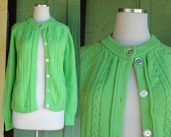1960s Lime Green Knit Cardigan Sweater // 60s Brig