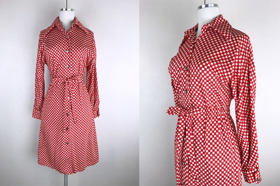 1960s 1970s Red and White Mod Checkerboard Shirt D