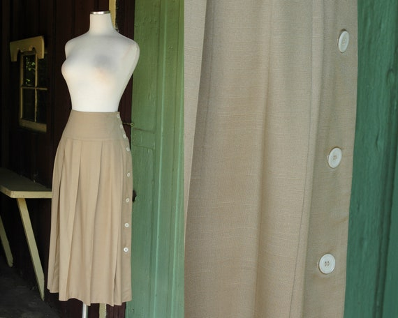 1980s Tan Beige Camel Pleated Midi Skirt // 80s Ch
