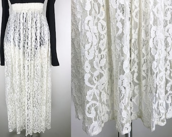 1990s Sheer White Lace Maxi Skirt // 90s White Lace Rampage Long Skirt