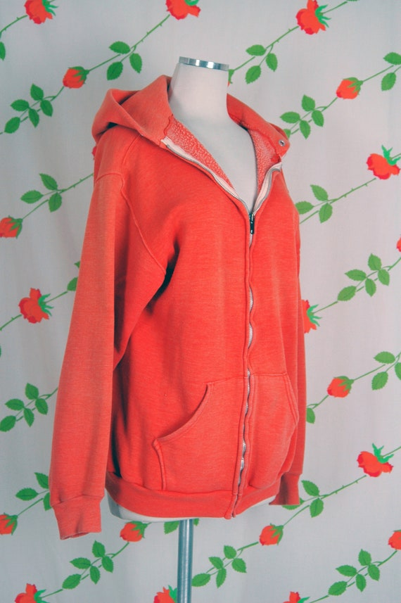 1970s Russell Athletic Orange Faded Zip Front Hoo… - image 4