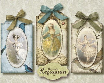 Vintage Tags at the ballet, Instant Download, digital Collage Sheet/ printable tags
