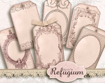 Ornamental Tags, digital collage Sheet Instant Download