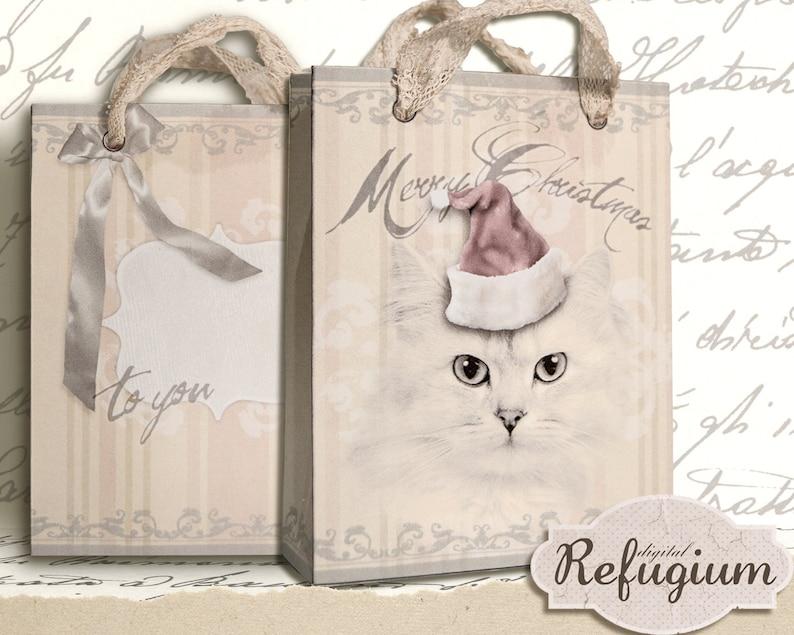printable Christmas Bag Kitten INSTANT DOWNLOAD digital image 0