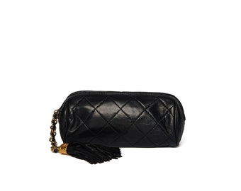 0dd05e17deac Chanel Black Quilted Round Tassel Clutch