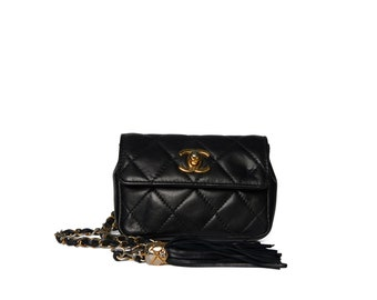 098fecafc142 Chanel Black Quilted Waist Bag
