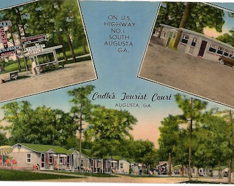 Vintage Linen Postcard Lithgow Library Augusta Maine 1930s