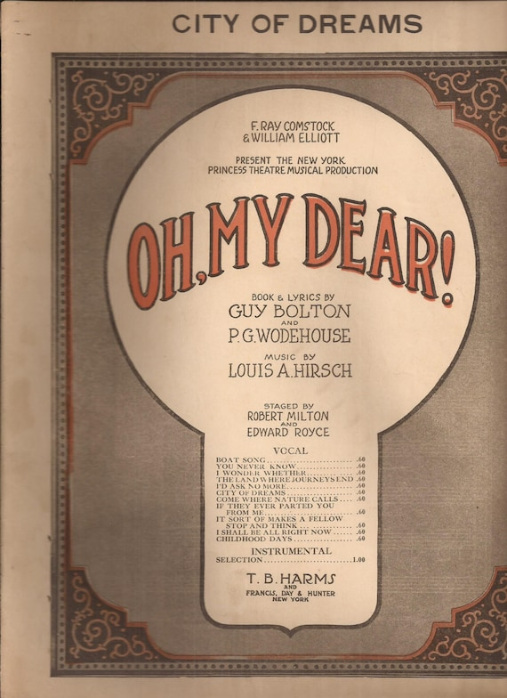 City of Dreams from the Musical Production Oh, My Dear, Vintage Sheet  Music, Broadway Musical Comedy, Piano Music, Home Decor