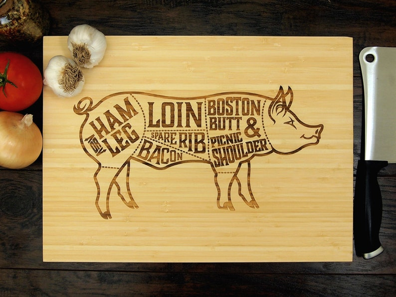 Pig Diagram Meat Cleaver Chef Gift Butchers Block Foodie Gift Rustic Serving Tray Trending Now
