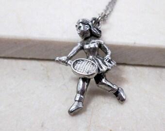 Tennis Player Gift, Tennis Player Charm Necklace, Tennis Necklace, Tennis Sports Jewelry, Tennis Gift, Tennis Coach Gift, Tennis Mom Gift.