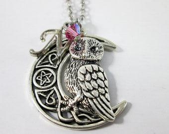Owl necklace, Celtic Viking necklace, pentagram crescent moon owl necklace, night owl statement necklace, Celtic moon owl jewelry gift