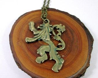 Antique Bronze Scottish Rampant Lion Pendant Necklace, Rampant Lion Charm, Lion Jewelry, Fandom Cosplay Necklace, Leo Birthday Gift for Men