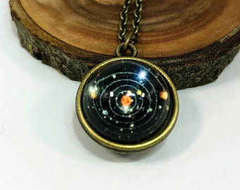 Glass Globe Planets Outer Space Solar System Space Necklace, Night Sky Necklace, Science Gift, Educational Gift, Cool Universe Space Gift