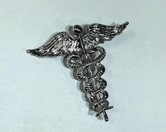 Caduceus brooch pin, medical symbol brooch pin, doctor angel pin, pharmacist pin, doctor graduation gift, medical caduceus gift, nurse gift.
