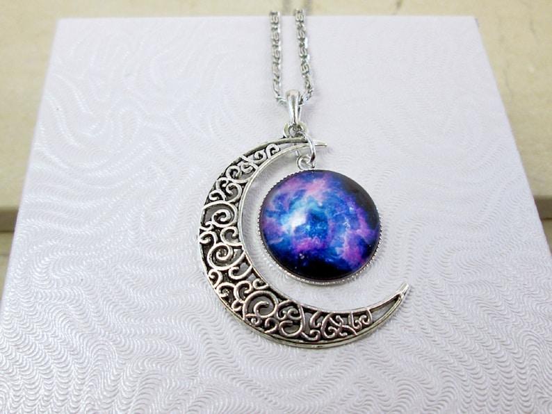 59c6d6c1e41 Large Crescent Moon Necklace Galaxy Moon Necklace Nebula