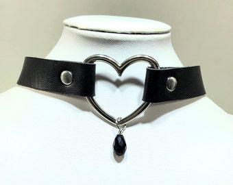 Black leather heart choker collar, adjustable heart ring day choker, silver heart choker necklace, punk Gothic heart choker, for woman