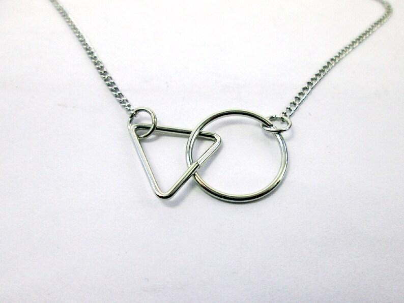 4ffa1eb079 Circle Triangle Interlocking Necklace Geometric necklace   Etsy