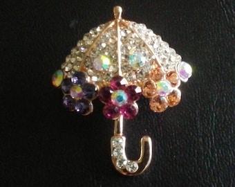 cf95a2d53cd One multi-colored rhinestone umbrella, brooch, pin, lapel, 1 1/4 inch, so  cute! Free shipping