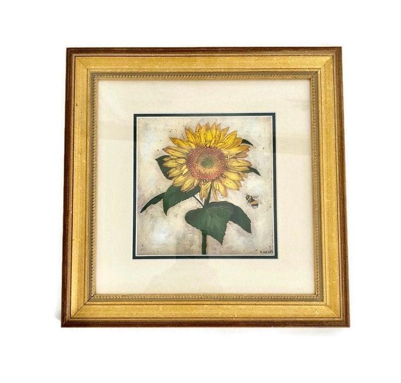 Custom Framed Sunflower Art Sunflower Wall Decor Sunflower Lithograph Signed S Hely Botanical Art Modern Farmhouse Decor