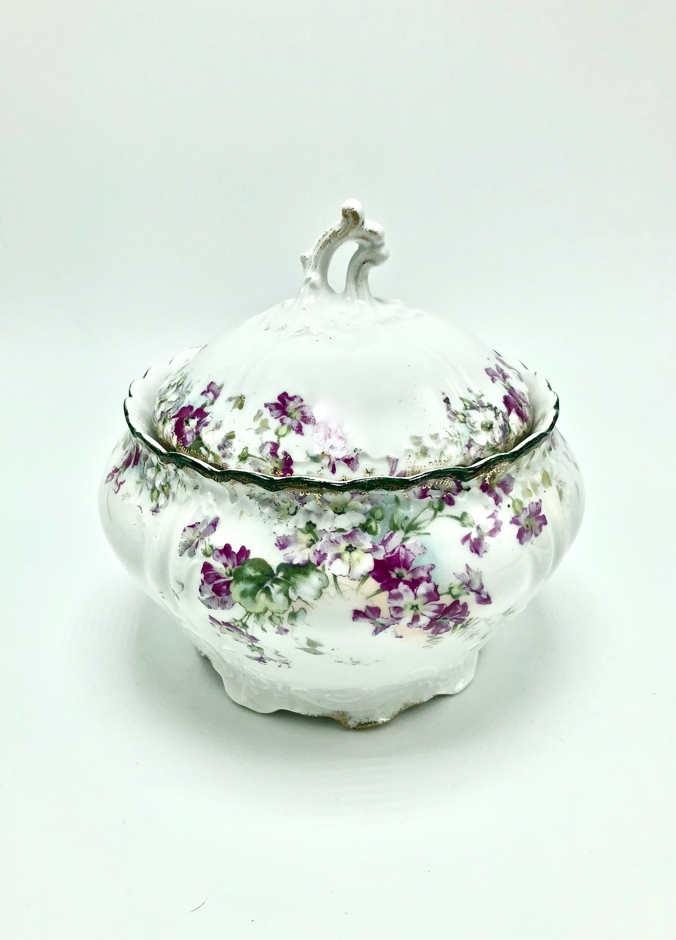 Vintage Covered Floral Bowl  Hand Painted German Porcelain  Mom Gift   Wife Gift  Anniversary Gift  Gifts for Her  Daughter Gift