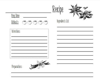 Witch Recipe Cards | Kitchen Witchery Printable | Broom Closet Craft | Baby Witch Printable | Spell Recipes | Grimoire Spell Planner