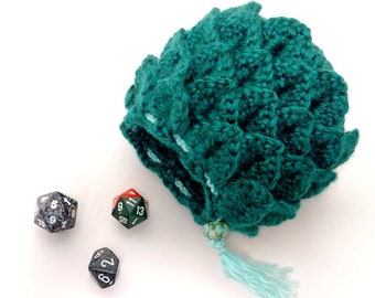 Dragon Scale Crochet Pouch | LARP Accessories | Crochet Drawstring Bag | Small Pouch | Game Bag | Dragon Egg | RPG Dice Bag | Game Piece Bag