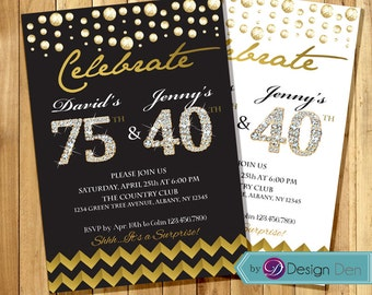 Adult Joint Birthday Invitation Combined Gold Foil White And Or Black Any Age A1035