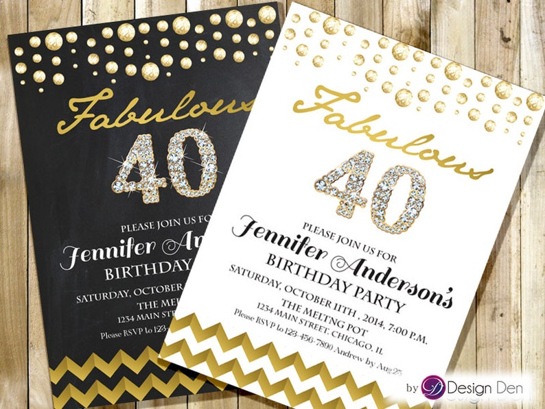 Adult Birthday Invitation For Woman Fabulous Gold Foil