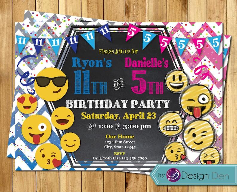 Emoji Birthday Invitation Boy Girl Joint Party Split