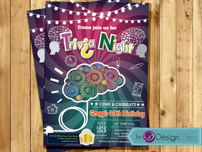 Trivia night invitation game party invite trivia nights etsy zoom stopboris Choice Image