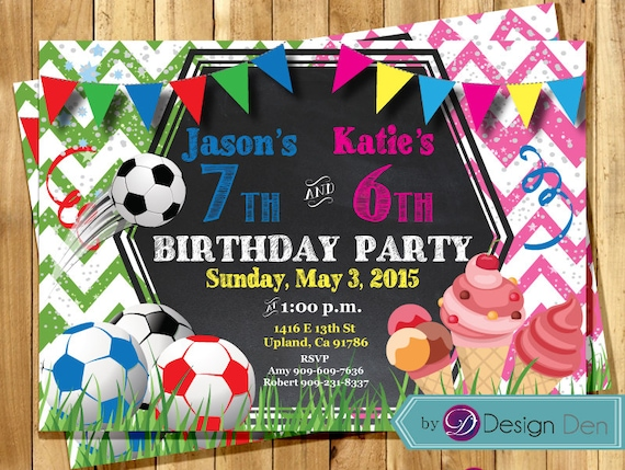Kids Joint Birthday Party Invitations Combined Party Etsy