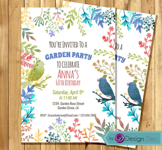 garden party invitation birthday invitation for woman water etsy