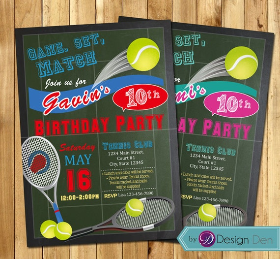 Tennis party invitation tennis birthday invitation boys or etsy image 0 filmwisefo