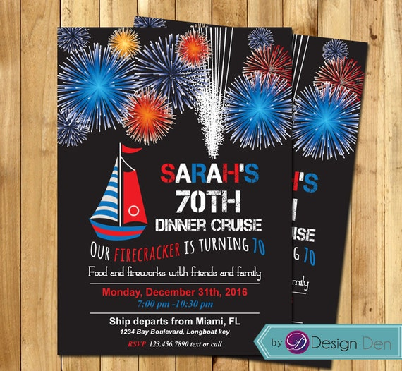 Adult Birthday Invitation. Dinner Cruise Invitation Family
