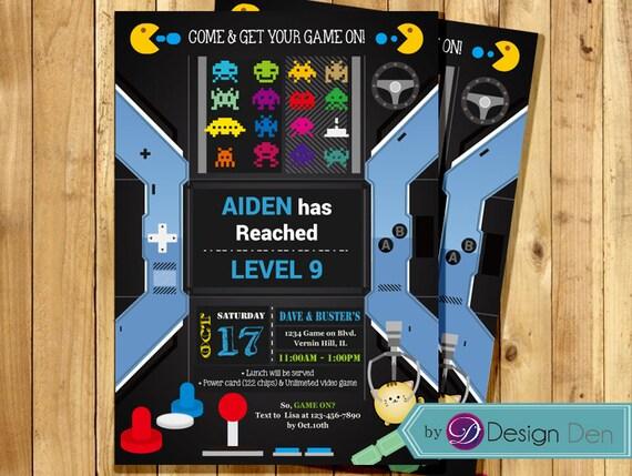 Video Game Birthday Party Invitation Arcade Game Birthday Etsy