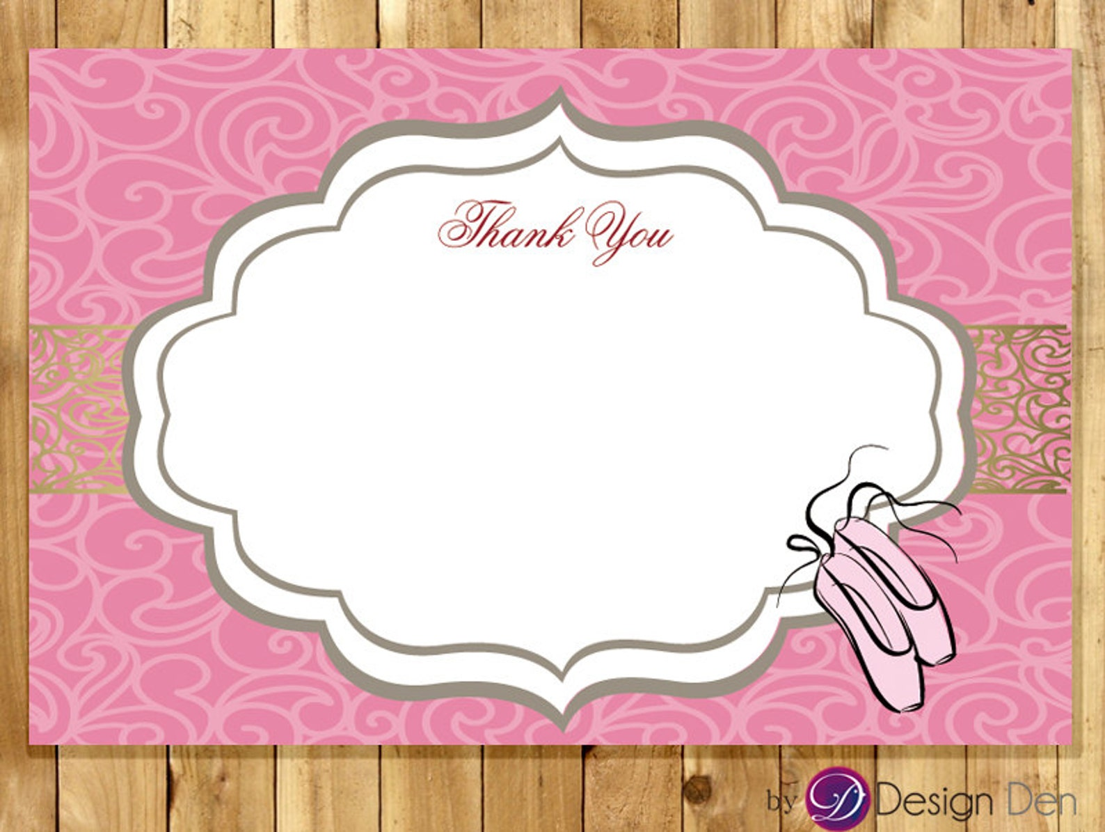 ballet dance thank you card / ballet birthday / ballet shoes / ballerina #tk1003