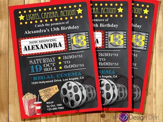 Custom Movie Cinema Theater Birthday Party Invitations Kids Etsy