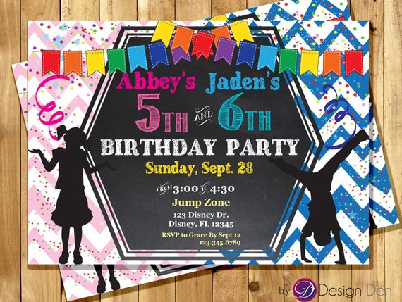 Kids Joint Birthday Party Invitations Boy Girl Joint Etsy