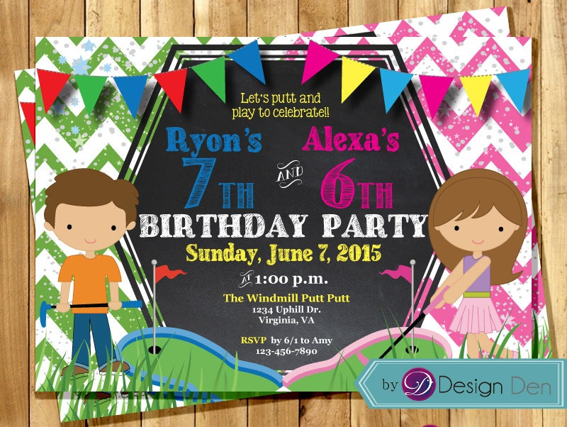 Kids JOINT Mini Golf Birthday Party Invitations Combined