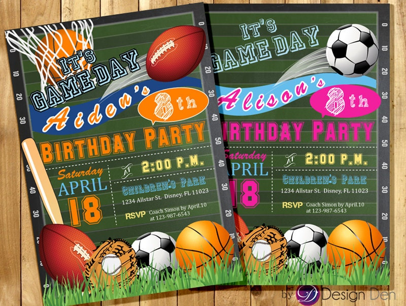 All Star Invitation Sports Theme Boys Or Girls Sports Etsy