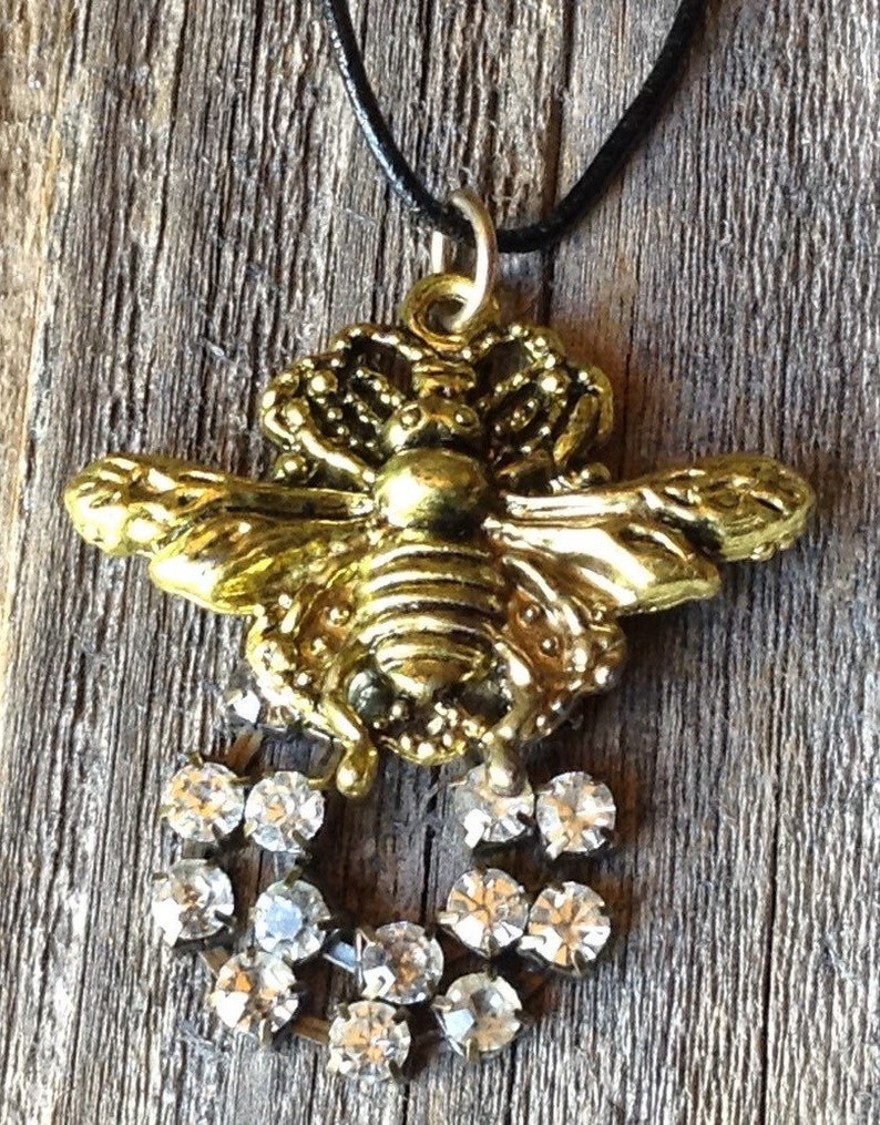 Bumble Bee and Rhinestone Necklace