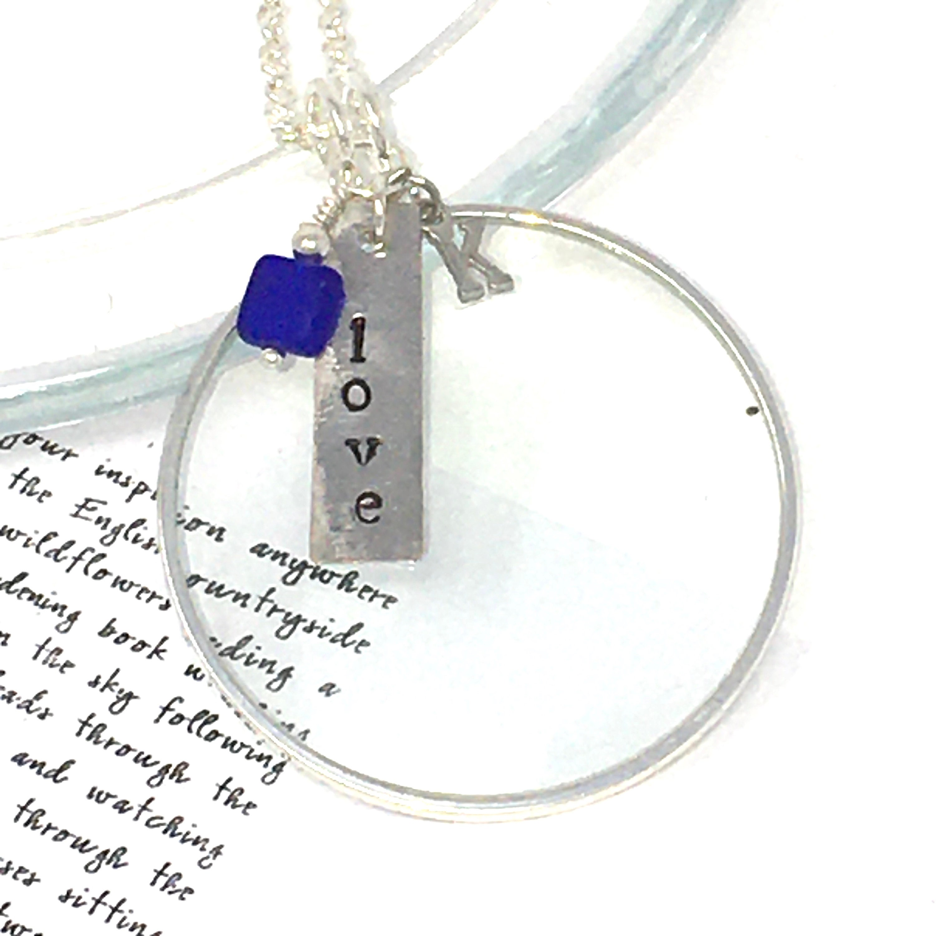 Magnifying Glass Necklace with Silver Word and One Crystal Charm Magnifying Glass Pendant