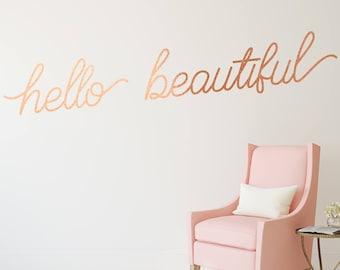 Wall Stickers Hello Beautiful Beauty Salon Girls Bedroom  Art Decal Vinyl Room