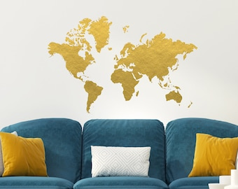 World map decal removable wall decal bedroom decor gold gold world map wall decal gold office decor bedroom wall decal office decor gold map copper decor gold foil decor world map gumiabroncs Gallery
